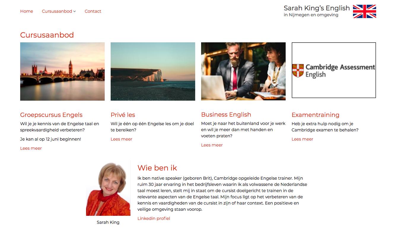 Het bovenste deel van de home pagina van Sarah King's English