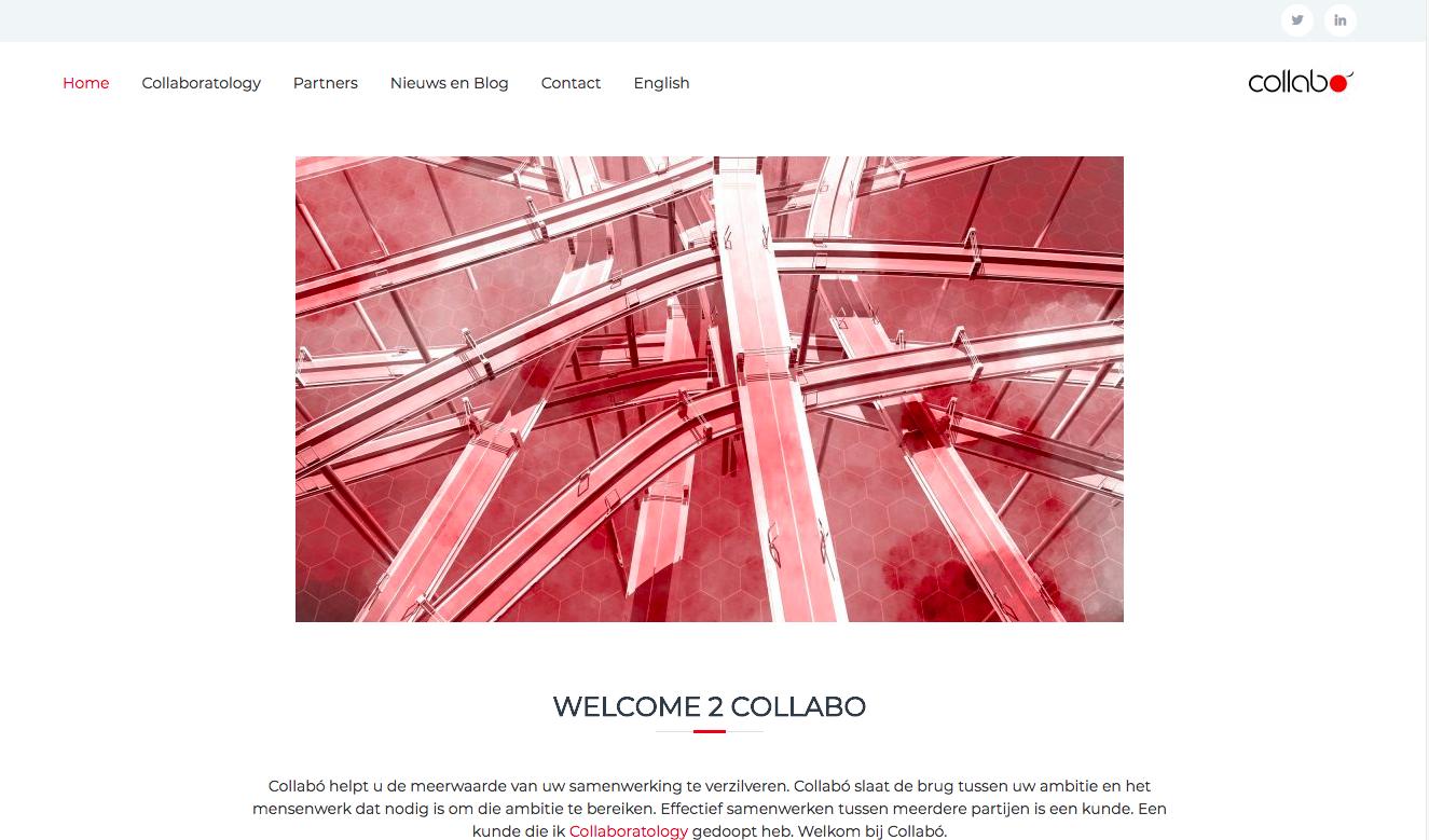Het bovenste deel van de home pagina van Welcome to Collabó