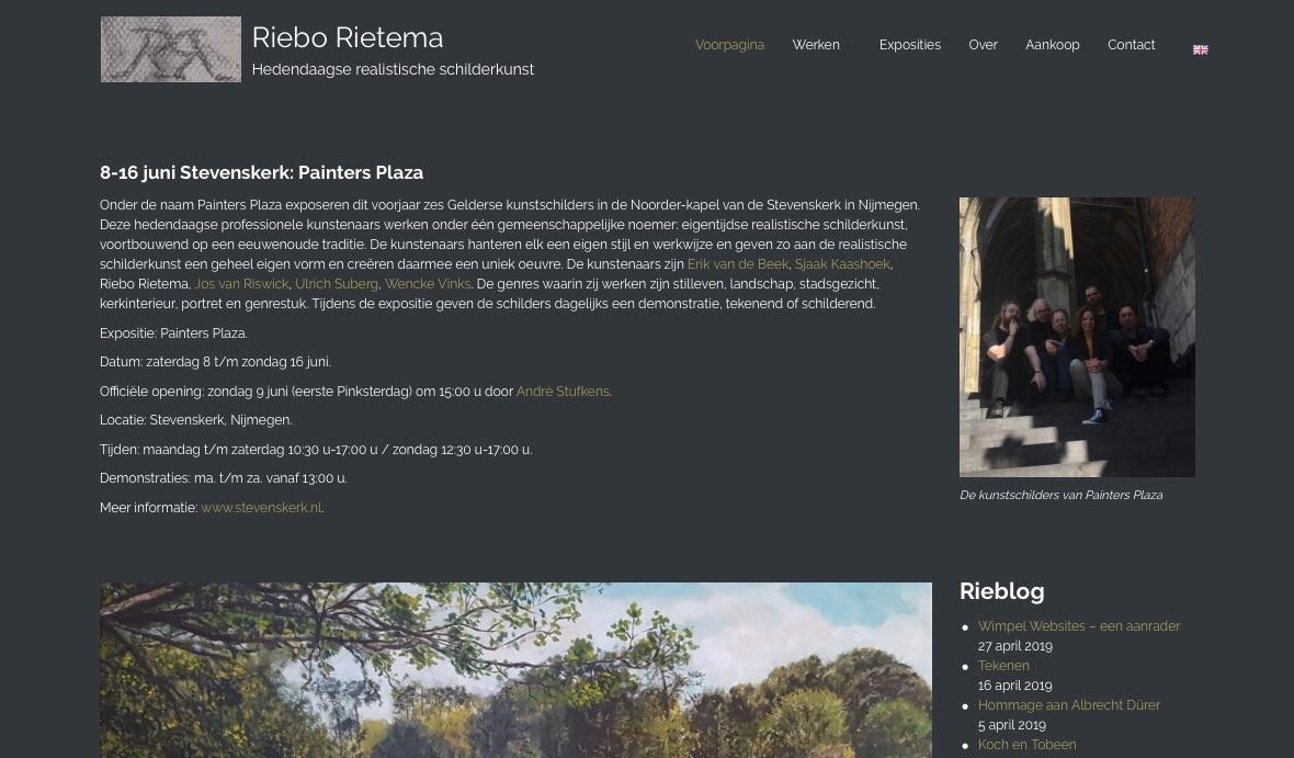 Het bovenste deel van de home pagina van Riebo Rietema