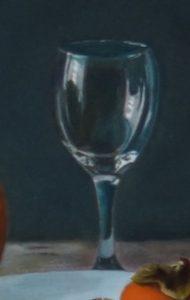 Detail van een schilderij: een wijnglas