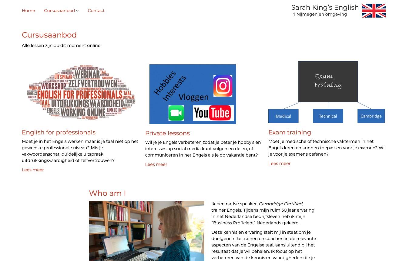 Het bovenste deel van de home pagina van Sarah King's English na update in 2020
